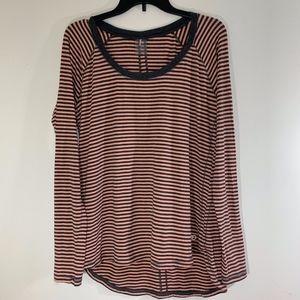 Calia Gray & Coral Long Sleeve Workout Shirt; XL